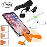 BESTZY Mini USB Fan 3-in-1 Portable Phone Fan for iPhone/iPad and Android Type-C, Android Micro-USB Phones, 3 Pack